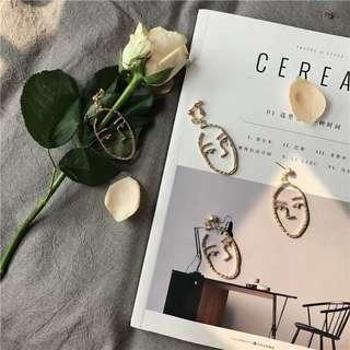 韓國購入|人臉輪廓耳環