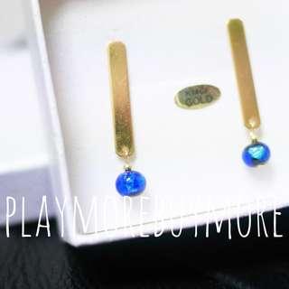 Handmade-日本購-K14GF深海藍色玻璃珠耳環