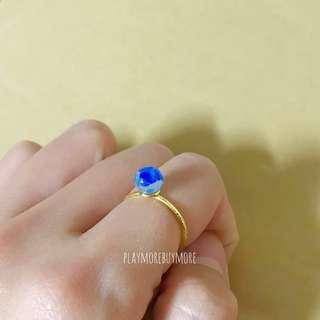 Handmade-日本購-海藍色手作玻璃珠戒指💍