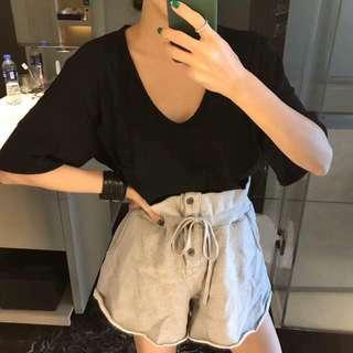 korea.韓國花苞抽繩磅數棉褲短褲