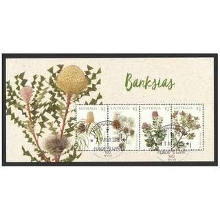 AUSTRALIA 2018 BANKSIAS FLOWERS SOUVENIR SHEET OF 4 STAMPS IN FINE USED CONDITION
