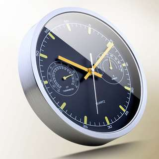 Thermometer & Hygrometer Wall Clock - 25cm