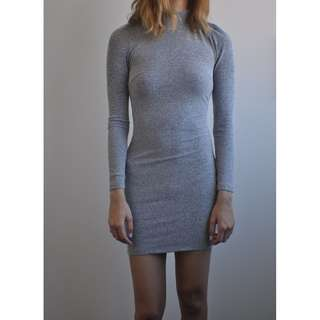 """Hello Molly """"Morning Mist"""" Mini Ribbed Long-Sleeved Bodycon with Cowl Back"""