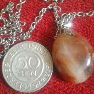 Loket pancawarna garut necklace & old coin