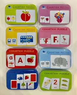 Educatinal Matching Cards Set Cognition Puzzle 宝宝启蒙认知早教卡 0-3岁撕不烂识字拼图卡