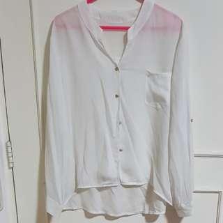 White sheer polo shirt