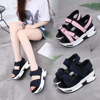 2018 new Korean version of the slope with Rome in the wild with insole thick-soled shoes uizzang sandals female summer