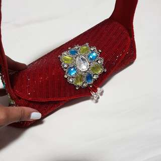 Red Crystal wedding clutch evening bridal beaded indian