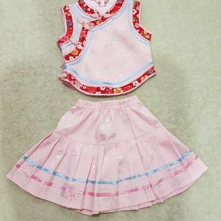 CNY or pink Chinese qipao with skirt set