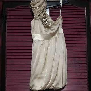 Assymetrical Nudes Silk Dress