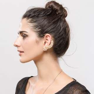 Crystal Rhinestone Ear Cuff Clip Earrings / Gold