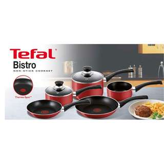Tefal 5 PCS Bistro Red Cookware Set [Saucepan + Milkpan + Saucepan w/Lid] + 2 years warranty