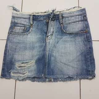 Tattered maong skirt
