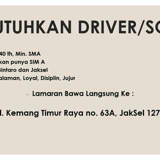 Butuh sopir / driver