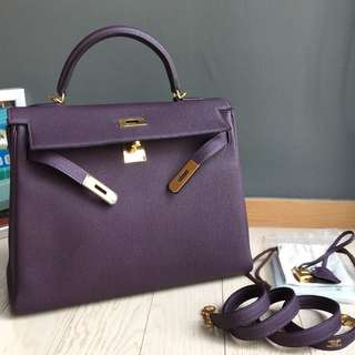 Authentic Hermes Kelly 32 Raisin