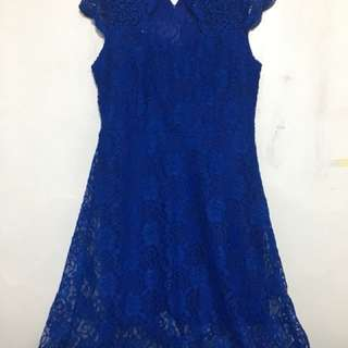 Semi formal dress (blue- lace) Used once