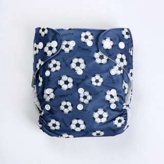 Cloth Nappy Diaper with 1 insert - Soccer