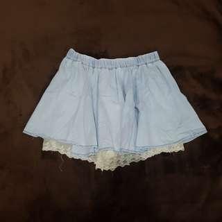 Light Denim Skirt with Inner Lace Shorts