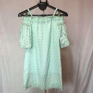 🚚 薄荷綠造型平口洋裝