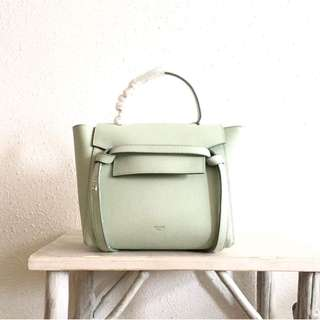 Celine micro belt bag in grained white leather and removable shoulder strap  24x16x7cm