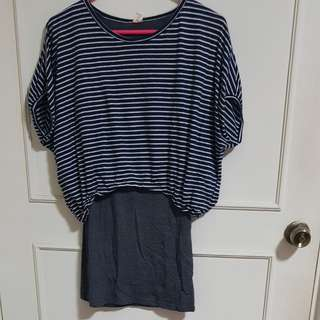 Blue stripes top with gray tank top