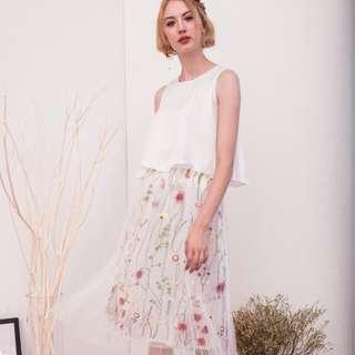 (PO) Elise Floral Mesh Midi Skirt