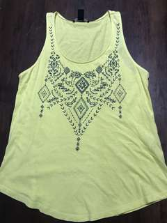Forever 21 Yellow Beaded Tank Top