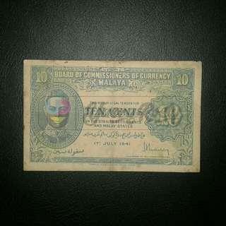 Duit Lama: BOCOC Malaya 10 Cents 1941