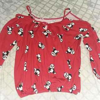 Red Off shoulder Panda(Free Size)