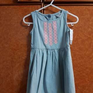 CARTER'S denim embroidery dress 12-18 mths