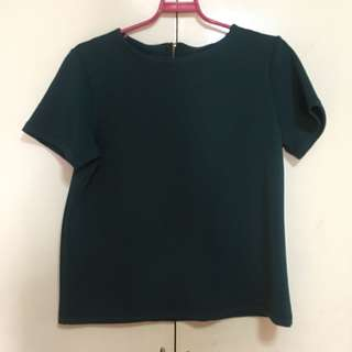 Back Zipper Green Top Blouse L-XL