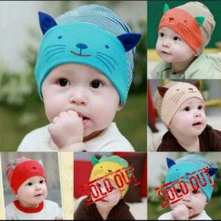 Soft Material, Adorable 3D Cat, Striped Baby Beanie Cap