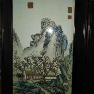 張志汤文革时期仿乾隆粉彩山水(瓷板)86218574