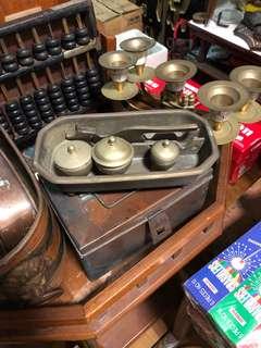 Vintage brass Kacip w/holder n container