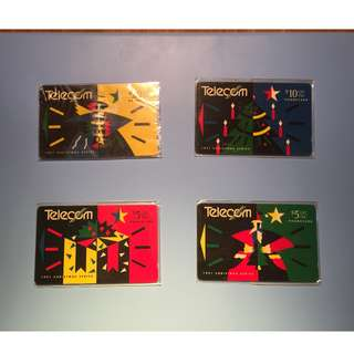 1991 Christmas Series New Zealand Telecom Phonecards Set of 4