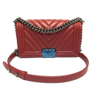Authentic Chanel Boy Medium Red