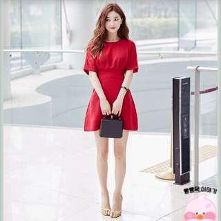 全新✨Chuu 正韓製質感獨特後鬆緊設計洋裝
