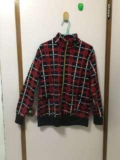 New 紅深藍 格仔 外套 Red Dark Blue Jacket L-XL size
