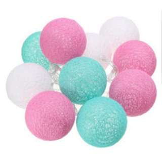 Cotton light balls blue and pink