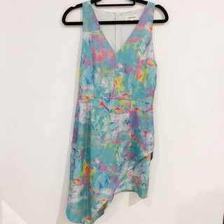 Watercolour Dress with Asymmetrical Hem