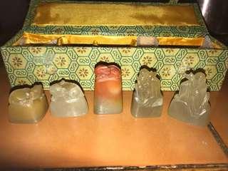 五个寿山冻石小印章