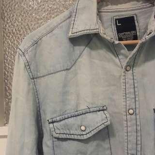 Oversized denim shirt in light blue