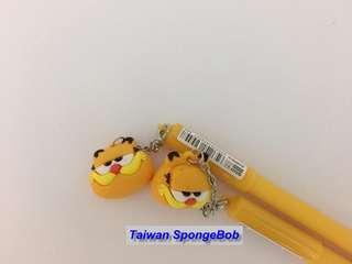 🚚 Garfield 加菲貓 矽膠玩偶吊飾 中性筆 簽字筆 卡通筆