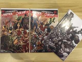 DC Justice League VS Suicide Squad #1 Connecting Variant + Black/White Variant