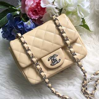 ❌SOLD!❌ Super Popular and Rare! Chanel Square Mini in Beige Caviar SHW