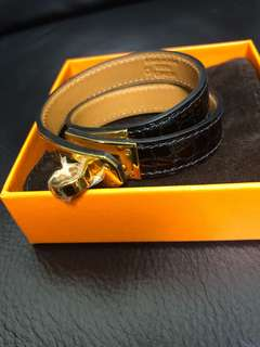 Hermes Kelly double your black croco gold