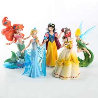 5Pcs Classical Princess PVC Figure Collection Cake Topper Frozen Belle Mermaid