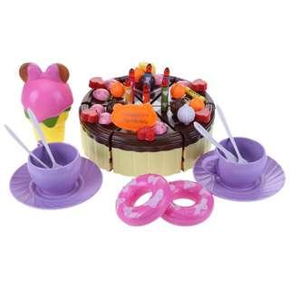 Kitchen Toys Pretend Play Cutting Birthday Cake Food Toy Tableware Plastic