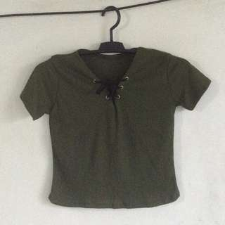 Olive green top with lace