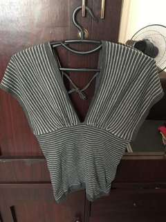 Stripes overlapped blouse